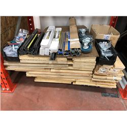 Assorted wood,  peg board, peg hooks, magnetic tool holders, socket holder sets, scrap pieces of MDF