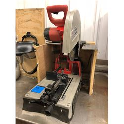 "Milwaukee 14"" abrasive cutoff machine part# 6180-20 c/w face shield and 2 spare wheels"