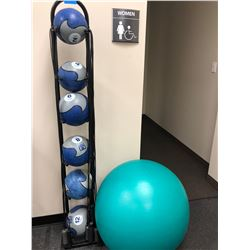 "Ultimate Fitness medicine balls 2,4,6,8,10,12 lb. c/w stand. Thera Gear Swiss Exercise Ball Pro 30"","