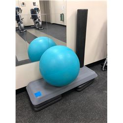 "Swiss Exercise Ball 22"", Step up c/w risers, black foam roller"