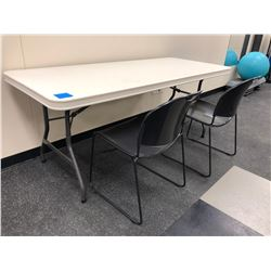 Elite collapsible 6 foot plastic table (2 chairs not included)