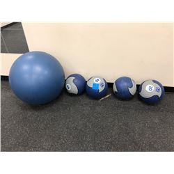 Medicine balls 20,30,40,50 lbs., Swiss exercise ball 26""