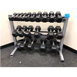 Dumbbells on stand 10 sets 3-40 lbs.