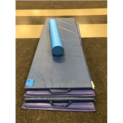 4 - 6 foot mats, blue foam roller