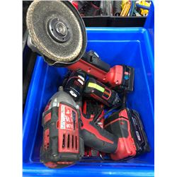 M18 angle grinder, M18 battery, M18 impact, 2 - M12 drivers, M12 battery, charger