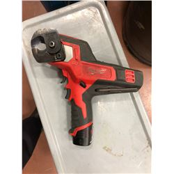Milwaukee M18 angle drill, M18 battery, M12 driver, M12 impact, M12 cable cutter, M12 flashlight, M1