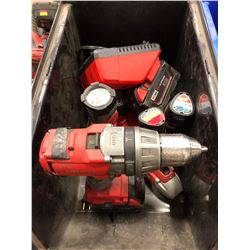 Milwaukee M18 drill, M18 battery, 2 chargers, M12 impact, M12 driver, M12 flashlight, M12 battery