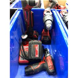 Milwaukee M18 drill , M18 angle drill, M18 battery, M12 driver, M12 battery, charger