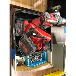 Milwaukee M18 angle grinder, M18 drill, M18 battery, M12 battery, charger, 61-80 bit indexes Qty 7,