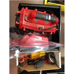 Milwaukee M18 6 pack charger, charger (new), assorted nut drivers, screwdrivers, 2 tape measures