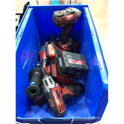Milwaukee M18 impact, angle grinder, battery,  M12 driver, battery, charger