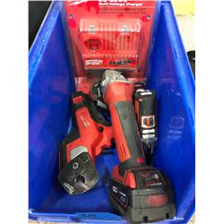 Milwaukee M18 angle grinder, M12 driver, cable cutter, charger (new)