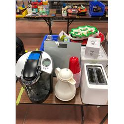 Keurig K60, Digital scale, toaster, sugar dispensers, cups, trays, Keurig reusable filter, coffee bu