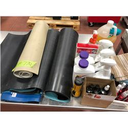 Assorted anti-static table matts, qty 2 bottles of roundup, qty 3 anti-static matt cleaner, dyna qua