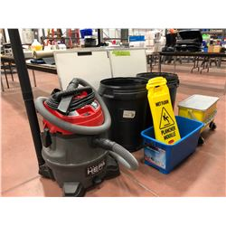 Rigid 14 gallon shop vac with attachments, 2 rectangular buckets, 3 wet floor signs, 2 - 26 gallon g
