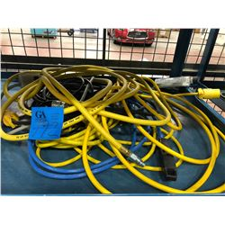 Assorted air line, power bar & extension cords