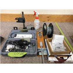 """Dremel Multipro c/w drill press, press tool, spool chain, Misc. drill bits, 1"""" emery cloth Qty 2"""