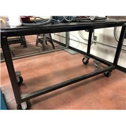"Heavy duty rolling table. 60"" x 27"" x 36"" powder coated (table only)"