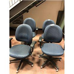 Office chair blue pattern adjustable qty 4, wear & tear