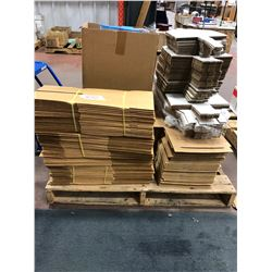 "Assorted New cardboard bins various width, 16 1/2"" bagging material"