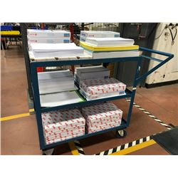 "Shipping cart 36"" x 24"" x 36"", includes large quantity of paper 8 1/2"" x 14"" and some 11"" x 17"""