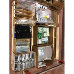 Assorted electronic components, Din rail, aluminum panels