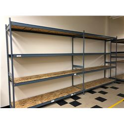 Steel shelving w/wood shelves 98  x 24  x 96  - 2 sections 8 shelves