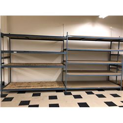 "Steel shelving w/wood shelves 98"" x 36"" x 96"" - 2 sections 9 shelves"