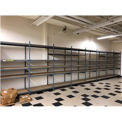 "Steel shelving w/wood shelves 98"" x 24"" x 96"" - 8 sections 44 shelves"
