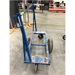Sheet material cart with 2 air filled tires and 2 castors