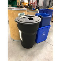 Assorted waste & recycle bins qty 8