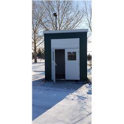 "All weather steel building  114""w x 97""d x 11 1/2'h, insulated walls, ventilation fan fire doors, ge"