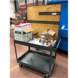 """Rolling parts cart 5 shelf 24"""" x 36"""" x 63"""", assorted Uline shipping material, bands, pallet wrap 5"""","""