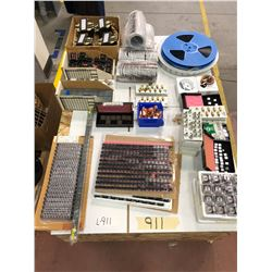 Assorted electronic components crate top include