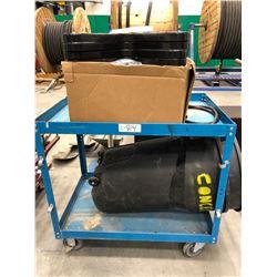 """Steel rolling cart 36"""" x 24"""" x 34"""", qty 13 plastic bolt templates, qty rolling 32 gallon garbage bin"""