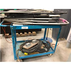 """Steel rolling cart 36"""" x 24"""" x 34"""", 6 folding chairs condition used, qty 2 120V stations missing mal"""