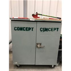 "Dandy Steel rolling cabinet 2 doors 1 shelf 48"" x 26"" x 55"", C/W Hilti model C4/36 charger, 15"" pryb"