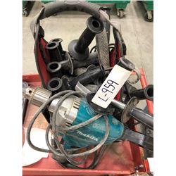 "Makita 120V 1/2"" drill, Merit tool bag with assorted handles"