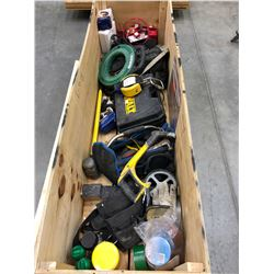 Crate of Various Tools, Fish Tape, Recharge Battery, Chargers, Sledge Hammer, Work Belts, Saws, Lock