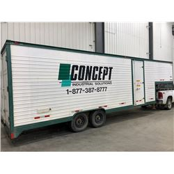 5th Wheel approx 38 ft worksite trailer divided into office and parts and inventory storage with she