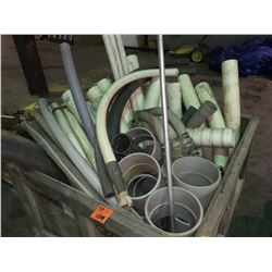 "Tub of electrical poly conduit, assorted elbows & couplers 2"" to 8"" approx 50 pieces"