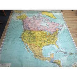 """R BAXTER BLAIR, SCHOOL MAP OF NORTH AMERICA, Ed. 1936, 5' 3"""" X 6' 4"""""""