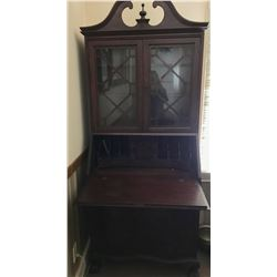 ANTIQUE DROP FRONT DESK WITH GLASS CABINET