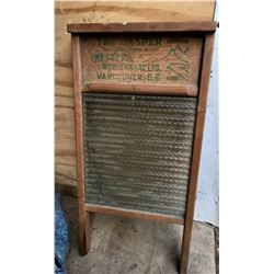 WESTERN WOODENWARE, GLASS FRONT WASHBOARD