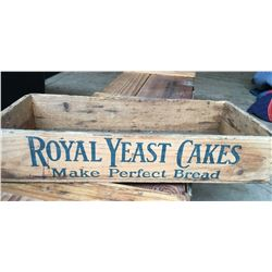 ROYAL YEAST CAKES WOODEN CRATE, ORIGINAL DECAL