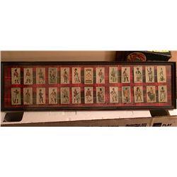 JOHN PLAYER & SONS, REGIMENTAL UNIFORMS, CIGARETTE PACKAGE CARDS - FRAMED DISPLAY