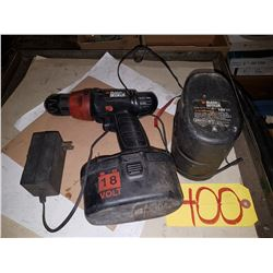 Black & Decker Electric Drill with spare battery (tested)