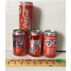 GR OF 4, COCA-COLA BLUE JAYS WORLD SERIES COLLECTOR CANS