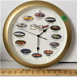 GR OF 2, CORVETTE 50TH ANNIVERSARY CLOCK & COFFEE TABLE BOOK