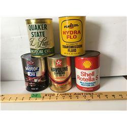 GR OF 5, QUAKER STATE, PENNZOIL, STP, TEXACO, SHELL - 1 LITRE / QT FIBER CANS